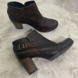 PAUL GREEN ankle boots dark brown leather size 6